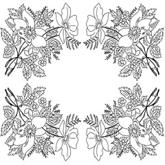 contour drawing flowers frame monochrome