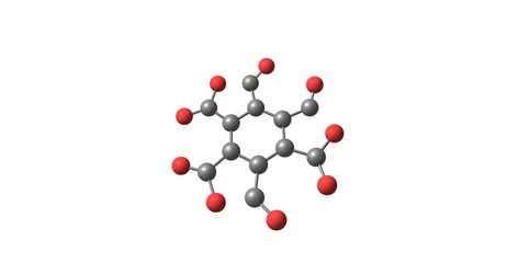Mellitic anhydride molecular structure isolated on white