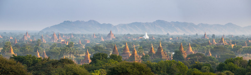 Panorama view of The plain of Bagan(Pagan), Mandalay, Myanmar. 2015