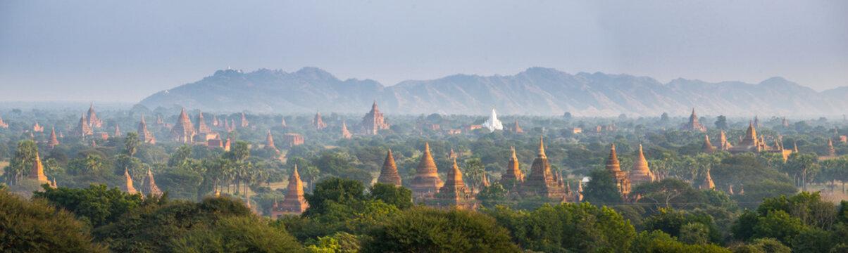 Panorama view of The plain of Bagan(Pagan), Mandalay, Myanmar. 2015