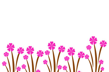 pattern background illustration flowers pink color design set