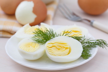 Boiled eggs on the plate