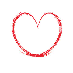 Red heart in grunge style on a white background