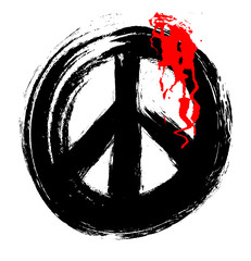 grunge peace symbol  bleed and blood drops, design element