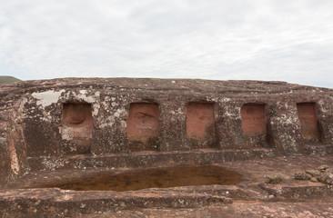 Close-up view of the niches cut in the rock in El Fuerte de Samaipata (Fort Samaipata)