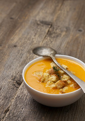 pumpkin soup - puree in a white bowl