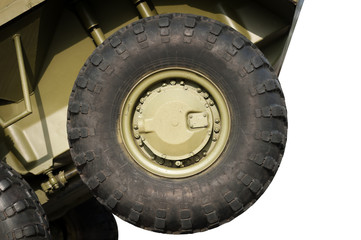 Wheel of armored truck isolated