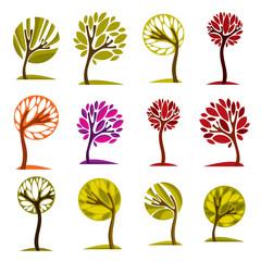 Vector art drawn colorful trees. Spring and autumn season idea