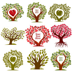 Vector graphic illustration of trees with red heart