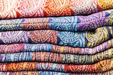 Traditional Indian tippets. Colored fabrics