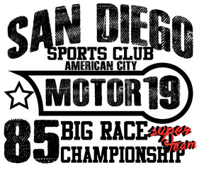 Athletic sport america san diego typography, t-shirt graphics, v