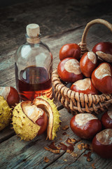 Brown chestnuts in basket and bottle of healthy tincture on old
