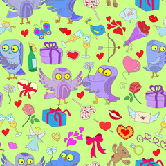 Seamless pattern with hand drawn owls and icons on the theme of Valentine's day on a green substrate