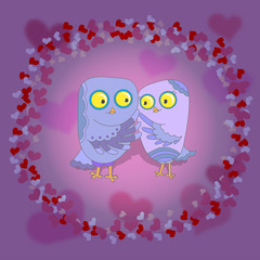 Owls in love on abstract background from hearts