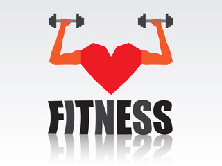 Geometric triangles fitness heart background