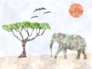 Triangles geometric elephant with tree
