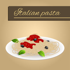 Abstract background food pasta spaghetti white Italy green red yellow beige illustration vector