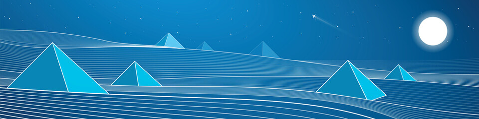 Pyramid, white lines, sand dunes, mountains, desert, night panorama, vector design art