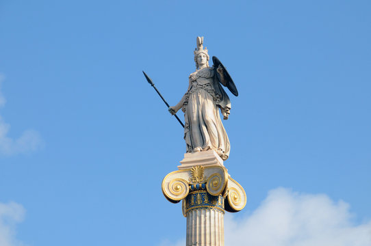 Statue of Athena in Street University, Athens