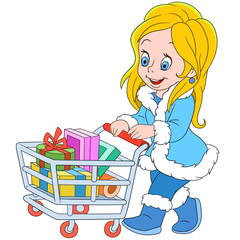 cute cartoon shopaholic girl with a shopping cart on the sale