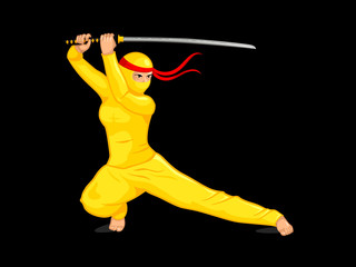 Yellow female ninja with a sword