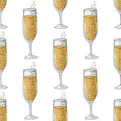 Painted illustration with drinks. A glass of champagne. Seamless pattern.