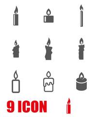 Vector grey candles icon set. Candles Icon Object, Candles Icon Picture, Candles Icon Image - stock vector