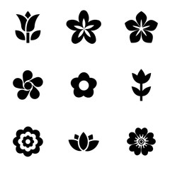 Vector black flowers icon set. Flowers Icon Object, Flowers Icon Picture, Flowers Icon Image - stock vector