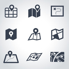 Vector black map icon set. Map Icon Object, Map Icon Picture, Map Icon Image - stock vector