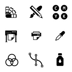 Vector black polygraphy icon set. Polygraphy Icon Object, Polygraphy Icon Picture, Polygraphy Icon Image - stock vector