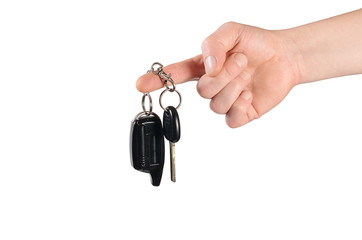 Keys from the car in a man's hand