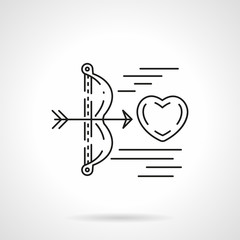 Cupids arrow shoots heart flat line vector icon