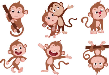 The years of monkeys.Vector and illustration Cartoon character on a white background.