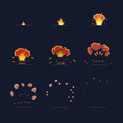 Explode effect animation. Flame and smoke. Cartoon explosion frames