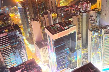 Night view of Hong Kong downtown
