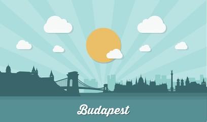 Wall Mural - Budapest skyline - flat design