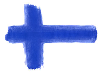 Flag of Finland painted with gouache