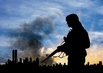 Silhouette of terrorist
