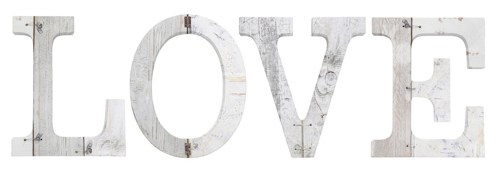 wooden love text isolated on white background