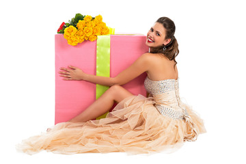 Portrait of a beautiful happy woman with a great gift