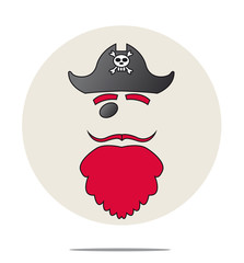 Illustration of a pirate with red beard