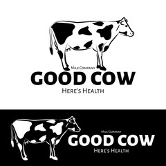 Vector logo of milk production or milk shop. Black and white options. Cow brand logo.