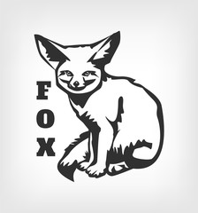 Vector fox black logo icon illustration