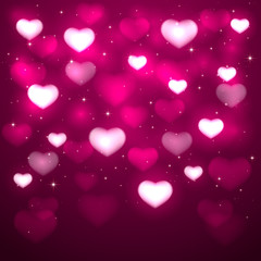 Valentines hearts on pink background
