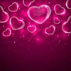 Transparent hearts on pink background