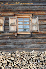 wooden window in wooden house