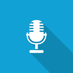 Flat Microphone icon with long shadow on blue backround