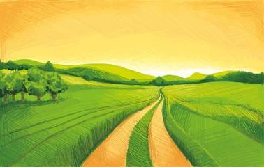Pencil drawing landscape