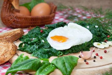 Fried egg on spinach with garlic and pepper