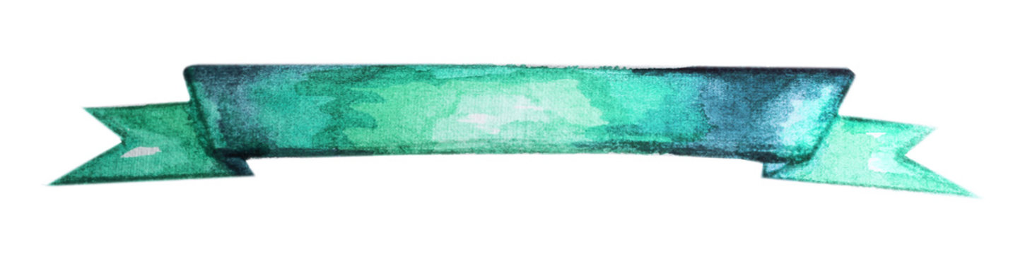 Hand painted ribbon colorful isolated on white